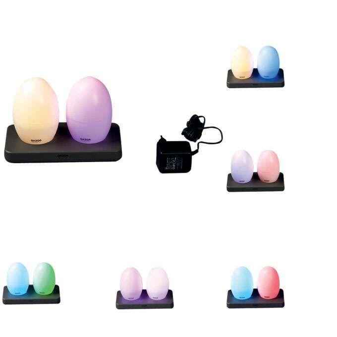 Sæt-med-to-LED-lamper,-genopladelig-EGG
