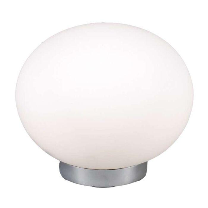 Bordlampe-Kugle-24-stål-med-hvidt-glas