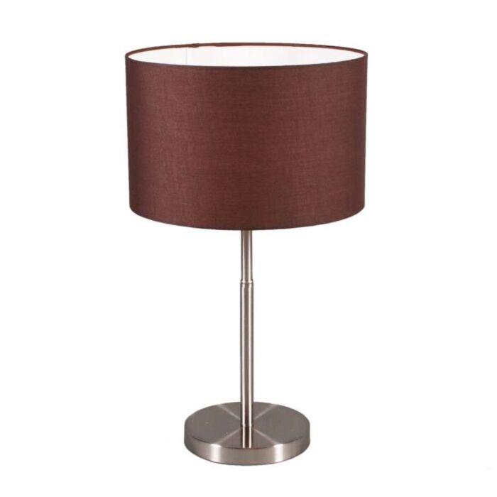 Bordlampe-Trommestål-med-brun-skærm