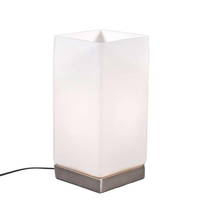 Bordlampe-Batteristål-med-hvidt-glas