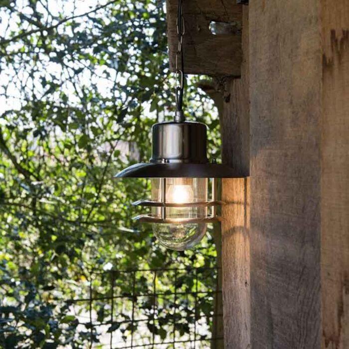 Retro-hængende-lampe-stål---Shell