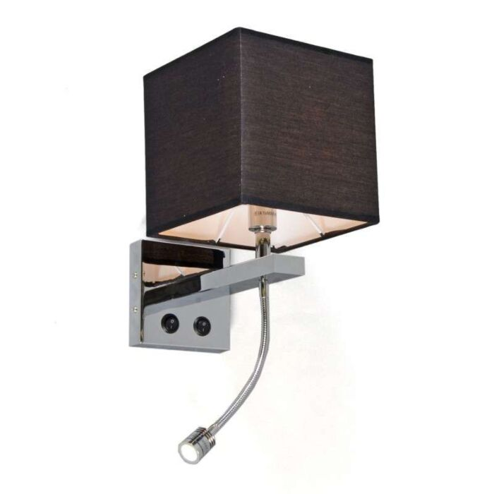 Væglampe-Brescia-krom-med-sort-skærm
