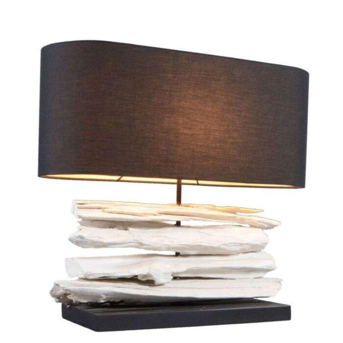 Bordlampe-Satun-medium-hvid-med-sort-skærm