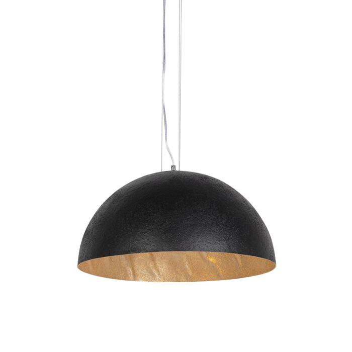 Industriel-hængelampe-sort-med-guld-50-cm---Magna
