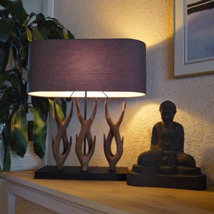 Country-bordlampe-Yindee-Recta-med-brun-skygge