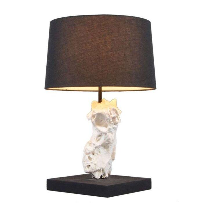 Bordlampe-Kanya-hvid-med-sort-skærm