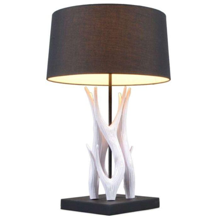 Bordlampe-Yindee-hvid-med-sort-skærm