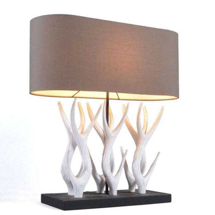 Bordlampe-Yindee-Recta-med-brun-skygge