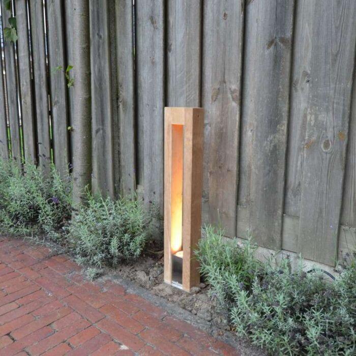 Udendørslampe-Pontis-pole-70-teaktræ