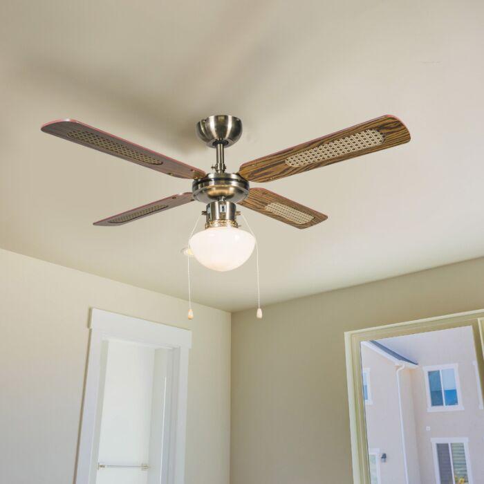 Industriel-loftsventilator-med-lampe-100-cm-træ---Vind