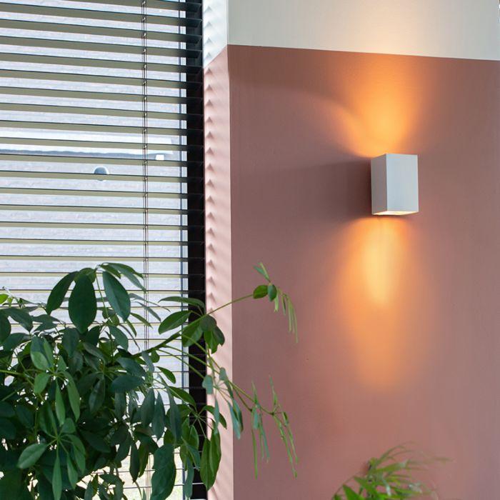 Moderne-væglampe-firkantet-hvid---Sandy