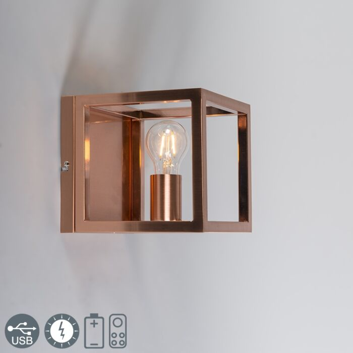 Væglampe-Cage-1-kobberlampe