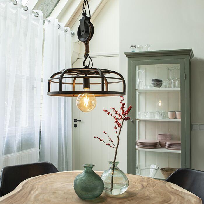 Industriel-hængelampe-sort-stål---Camelot