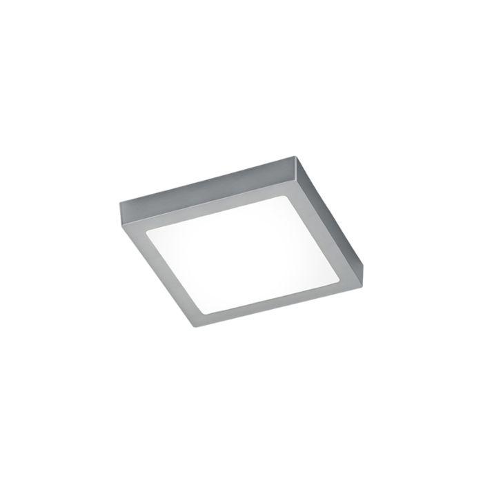 Moderne-firkantet-loftslampe-stål-med-glas-inkl.-LED---Dreng