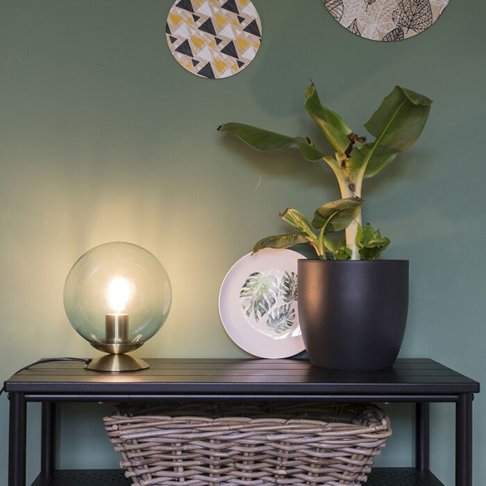 Art-deco-bordlampe-messing-med-blåt-glas---Pallon