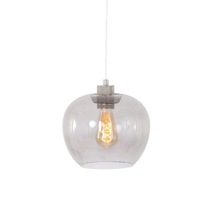 Moderne-hængende-lampe-stål-med-glas---Lori