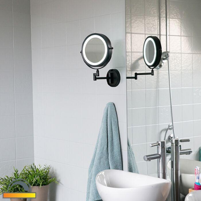 Badeværelsesspejl-sort-inkl.-LED-justerbar-IP44---Vicino