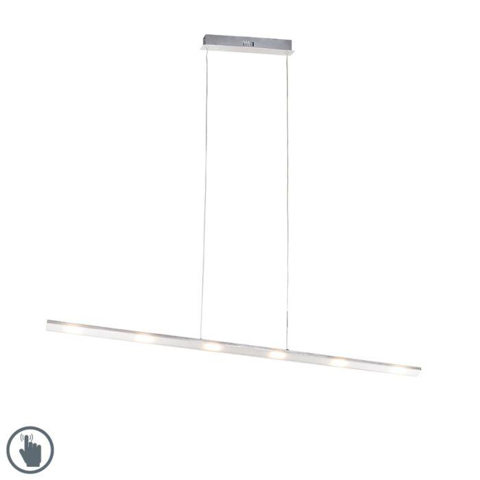 Design-hængende-lampe-stål-med-berøringsdæmper-inkl.-LED---Platin