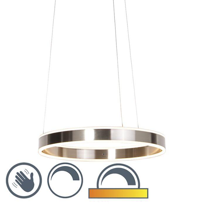 Moderne-hængelampe-stål-inkl.-LED-60-cm-dæmpet-til-varm---Ollie