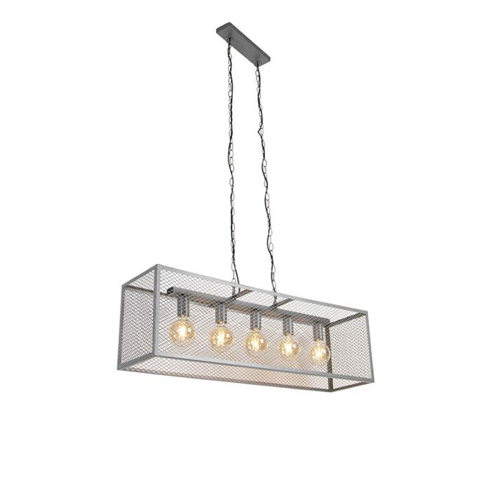 Industriel-hængelampe-antik-sølv-5-lys---Cage-Robusto