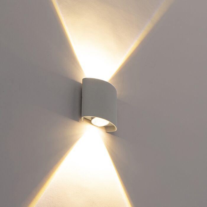 Design-udendørs-væglampe-sølv-inkl.-LED-2-lys---Silly