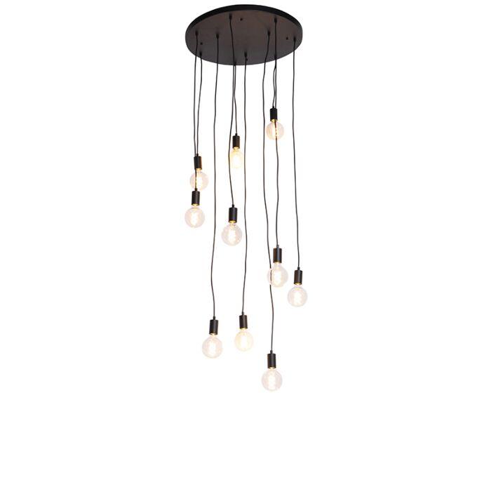 Moderne-hængelampe-sort-60-cm-10-lys---Facil