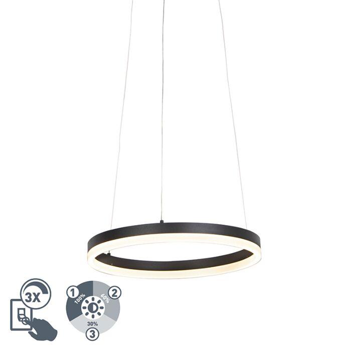 Design-ring-hængende-lampe-sort-40-cm-inkl.-LED-og-lysdæmper---Anello