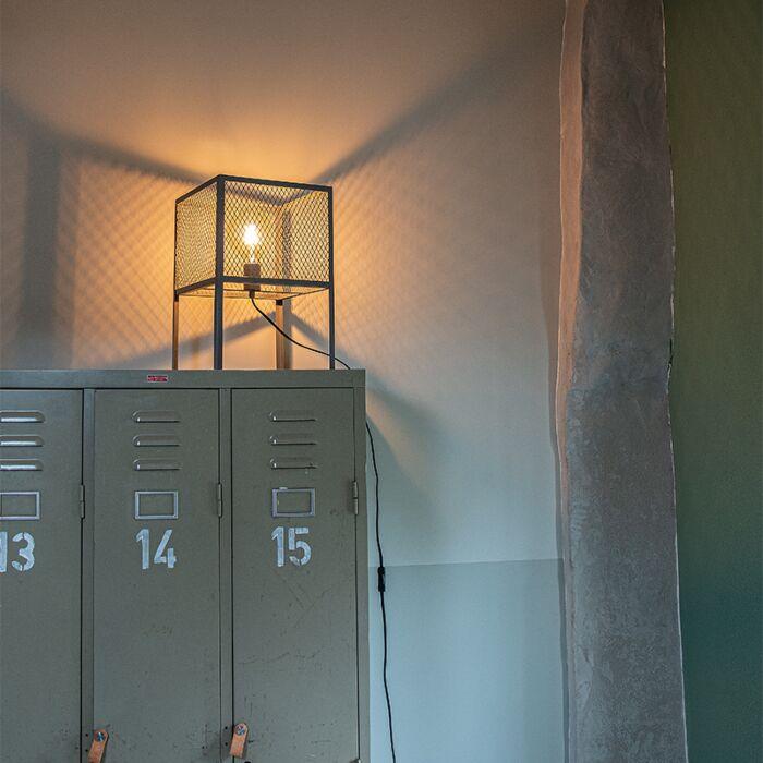 Industriel-bordlampe-antik-sølv---Cage-Robusto