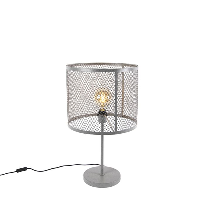 Industriel-rund-bordlampe-antik-sølv---Cage-Robusto