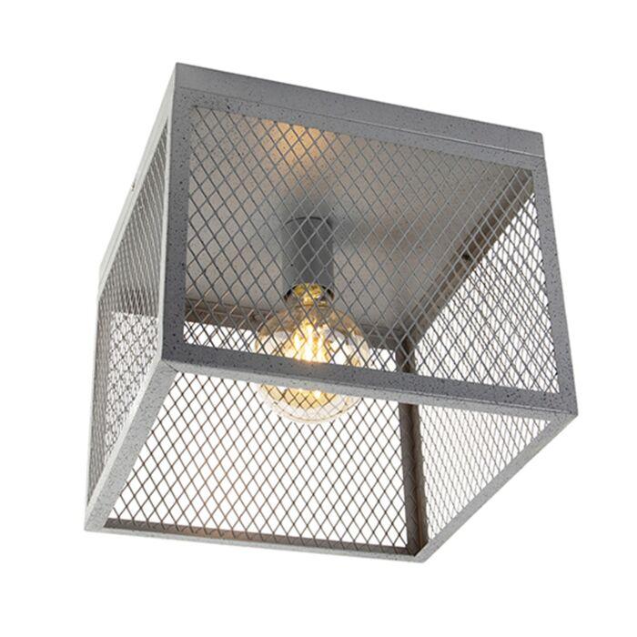 Industriel-loftslampe-antik-sølv---Cage-Robusto