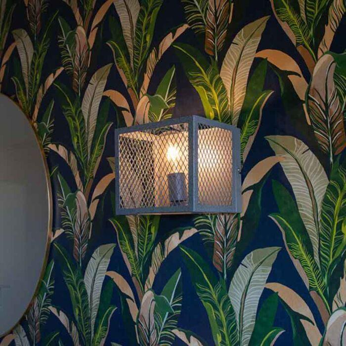 Industriel-væglampe-antik-sølv---Cage-Robusto