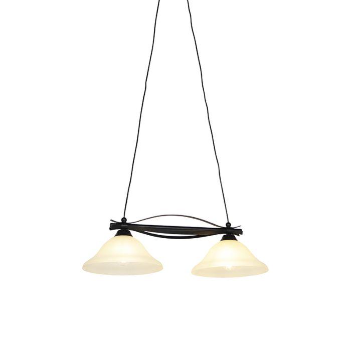 Klassisk-hængende-lampe-brun-med-beige-glas-2-lys---Pirata