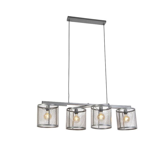 Industriel-hængelampe-antik-sølv-4-lys---Cage-Robusto